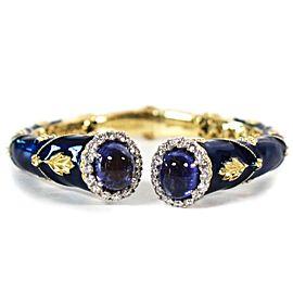 Stambolian - Colors of Life Bracelet - 18K Yellow Gold - Blue Enamel - Diamonds