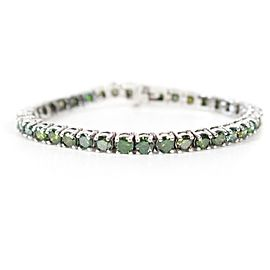 Tennis Bracelet - 10 CTW Green Tsavorite - 14K White Gold