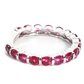 Sonia B Ring - 14K White Gold - Pink Sapphire - Tsavorite - Size US 6.5