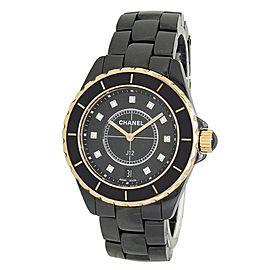 Chanel J12 Black Ceramic Quartz Diamonds Black Men's Watch H2544