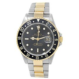 Rolex GMT-Master II 18k Yellow Gold Steel Oyster Auto Black Men's Watch 16713