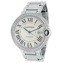 Cartier Ballon Bleu 18k White Gold Diamonds Automatic Silver Mens Watch WE9009Z3