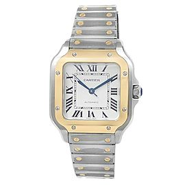 Cartier Santos Stainless Steel 18k Yellow Gold Auto Silver Men's Watch W2SA0007