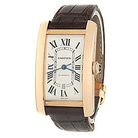 Cartier Tank Americaine 18k Rose Gold Leather Auto Silver Men's Watch W2609156