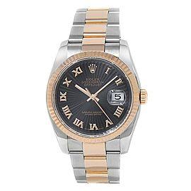 Rolex Datejust 18k Rose Gold Steel Oyster Automatic Black Men's Watch 116231