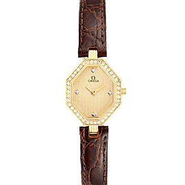 Omega DeVille Mini Yellow Gold Diamond Cocktail Ladies Watch 1450
