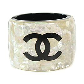 Chanel - CC Bracelet - Wide Resin Cuff - Black Logo - Iridescent Pearl Bangle