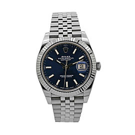 Men's Rolex Datejust 41 Stainless Steel and 18k White Gold, Blue Dial, 126334