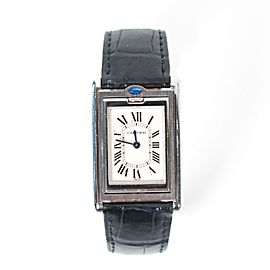 Cartier - Basculante Reversible Watch - Black Croc Band Steel 22mm Ladies Quartz