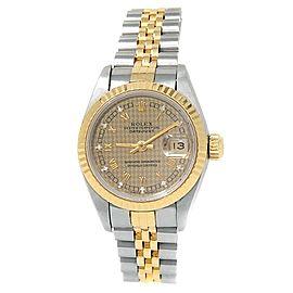 Rolex Datejust 18k Yellow Gold Steel Auto Diamonds Champagne Ladies Watch 69173