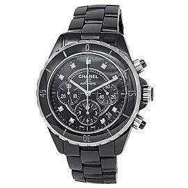 Chanel J12 Black Ceramic Chronograph Automatic Diamonds Black Ladies Watch H2419