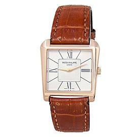 Patek Philippe Gondolo Trapeze 18k Rose Gold Manual Silver Ladies Watch 5489
