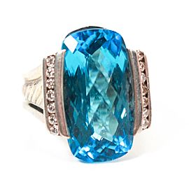 David Yurman Blue Topaz Diamond Ring White Diamonds Sterling Silver .925 US 6.5