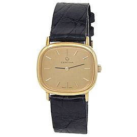 Certina 18k Yellow Gold Black Leather Quartz Champagne Ladies Watch 5014019
