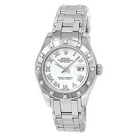 Rolex Datejust Pearlmaster 18k White Gold Diamonds Automatic White Watch 80319