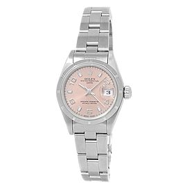 Rolex Date Stainless Steel Oyster Automatic Pink Ladies Watch 79160