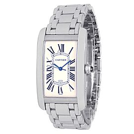 Cartier Tank Americaine 18k White Gold Automatic Silver Men's Watch W26055L1