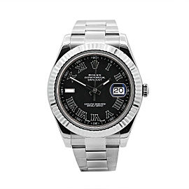 Men's Rolex Datejust II 41, Stainless Steel, 18k White Gold, Grey Dial, 116334