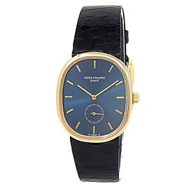 Patek Philippe Golden Ellipse 18k Yellow Gold Manual Blue Men's Watch 3978