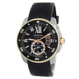 Cartier Calibre de Cartier Diver 18k Rose Gold Steel Black Men's Watch W7100055
