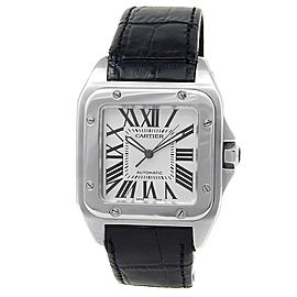 Cartier Santos 100 Stainless Steel Leather Automatic Silver Men's Watch W20073X8
