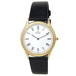 Concord Classic 18k Yellow Gold Leather Quartz White Men's Watch 58-C6-218