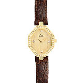 Omega DeVille Mini Yellow Gold Diamond Cocktail Ladies Watch 1450 Unworn