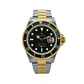 Men's Rolex Submariner Date 40, 18k Yellow Gold and Steel, Black Dial, 16613