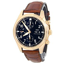 IWC Pilots 18k Rose Gold Leather Chronograph Auto Black Men's Watch IW371713
