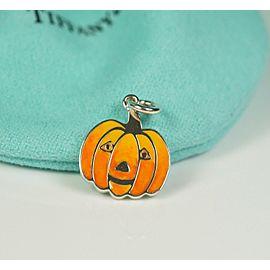 Tiffany & Co. Silver & Enamel Pumpkin Halloween Jack-o-Lantern Charm w/ Bag
