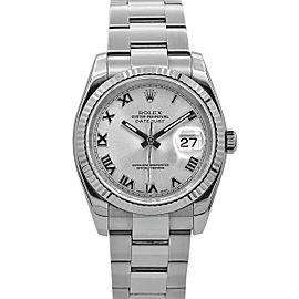 Men's Rolex Datejust 36, Steel, 18kt White Gold, Silver Rhodium Dial, 116234