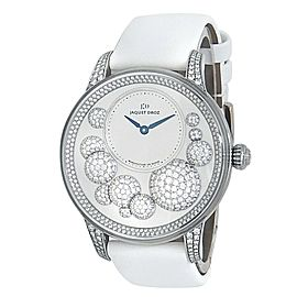 Jaquet Droz Petite Heure 18k White Gold Auto Diamonds Ladies Watch J005024533