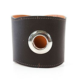 Hermes - Bracelet Wide Leather Cuff with Large Silver Grommets - Brown Bangle