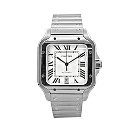 Men's Cartier Santos de Cartier 39,8, Stainless Steel, White Dial, WSSA0009