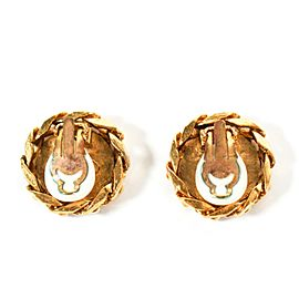 Chanel 1988 Large CC Rhinestone Earrings Vintage Clip On Chain Gold Crystal Logo