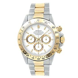 Rolex Daytona 18k Yellow Gold Steel Oyster Automatic White Men's Watch 16523
