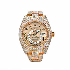 Men's Rolex Sky-Dweller 42mm, 18k Everose Gold, Iced out, Sundust Dial, 326935