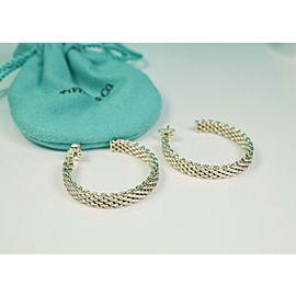 Tiffany & Co. Somerset Large Hoop Earrings Sterling Silver w/ 18K Posts! RARE