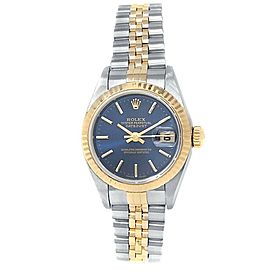 Rolex Datejust 18k Yellow Gold Steel Jubilee Automatic Blue Ladies Watch