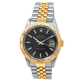 Rolex Datejust 18k Yellow Gold Steel Jubilee Automatic Black Men's Watch 16263