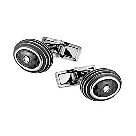 MONTBLANC OVAL BLACK CARBON & STAINLESS STEEL CUFFLINKS NEW 111312 GERMANY NEW