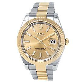 Rolex Datejust II 18k Yellow Gold Steel Oyster Auto Champagne Men's Watch