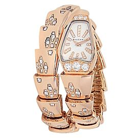 Bvlgari Serpenti 18k Rose Gold Quartz Diamonds MOP Ladies Watch SPP26WGD1GD1.1T