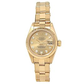 Rolex Datejust 18k Yellow Gold Oyster Automatic Champagne Ladies Watch 69178