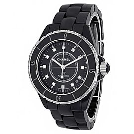 Chanel J12 Black Ceramic Automatic Diamonds Black Ladies Watch H1626