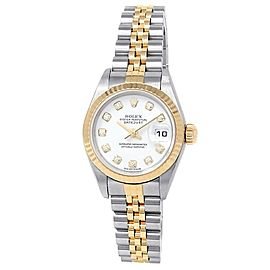 Rolex Datejust 18k Yellow Gold Steel Jubilee Diamonds White Ladies Watch 69173