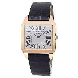 Cartier Santos Dumont 18k Rose Gold Leather Manual Rhodium Men's Watch W2006951