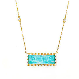 Doves N6798AZ 18k Yellow Gold Amazonite, Diamond Necklace