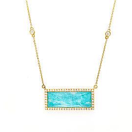 Doves N6798AZ 18k Yellow Gold Amazonite, Diamond Necklace