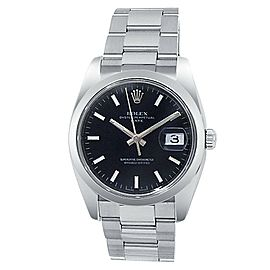 Rolex Date Stainless Steel Oyster Automatic Black Men's Watch 115200
